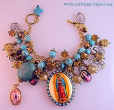 """Lety's Creations: """"Golden Radiance"""" Our Lady of Guadalupe Charm Bracelet"""