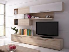 Mur TV JASPER avec rangements - Blanc laqué & chêne