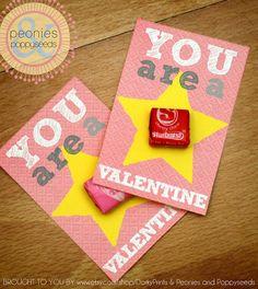 Valentine Printable PDF - Printable Party Supplies - Starburst Candy Valentines Printable #affiliatelink