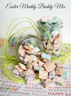 Colorful Easter Muddy Buddies Mix Recipe by www.TheRebelChick.com