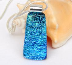 Sea Blue Dichroic Glass Pendant - Fused Glass Jewelry - Blue Art Glass Necklace by TremoughGlass on Etsy