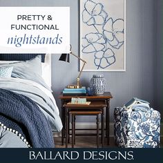 Get inspired with these unique night stand ideas and tips. From side tables, wall shelves, to nightstands and desks, find the perfect night stand for your space and style at Ballard Designs. Unique Furniture, Bedroom Furniture, Furniture Design, Tuscan Decorating, Decorating Blogs, Mediterranean Home Decor, Stand Design, Night Stand, Traditional Decor