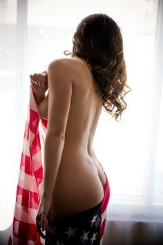 American Flag Boudoir | Nude with American Flag