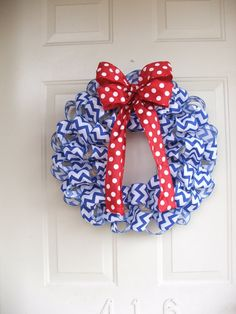 Patriotic Wreath, USA,  4th of July,  Red white and blue wreath, Blue Chevron Ribbon Wreath with Red and White Polka Dot Bow