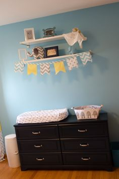 I love the polkadots & Chevron together! Oh and I like the little flag idea for easy pop of color and decor.