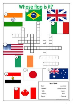 Country Flag Crossword worksheet - Free ESL printable worksheets made by teachers Social Studies Worksheets, Worksheets For Kids, Printable Worksheets, English Resources, English Activities, Teaching English, Learn English, Countries And Flags, Geography For Kids