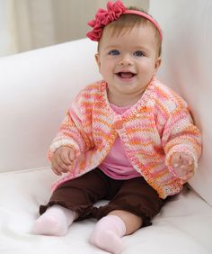 Make this wear-anywhere sweater in any color so that baby will always have the perfect layer to keep cozy and comfortable. We've included sizes 12 months to 4 years so you can make a new sweater as baby grows.
