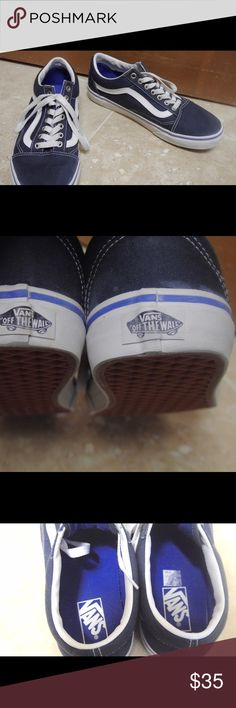 Vans Canvas Old Skool Shoes- Dark Slate/True White Unisex shoes- great condition- worn once or twice- cleaned up very nicely Vans Shoes Sneakers