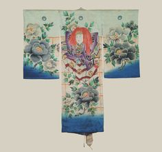 Boys Miyamairi Kimono, Early Showa (1927-1940). An unusual boy's silk kimono originally worn for a Shinto coming-of-age ceremony. The main kimono is silk, while the lining is synthetic. The Noh actor and peony designwork was created with the yuzen technique and painting, with gold foil highlights.  The Kimono Gallery