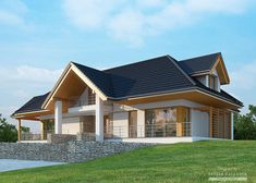 House with attic in modern style with usable area House with a large garage. Minimum size of a plot needed for building a house is m. Home Building Design, My Home Design, Modern House Design, Home Design Plans, Building A House, House Plans Mansion, My House Plans, Modern Bungalow House, Cottage Style House Plans