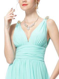 Ever Pretty Elegant V-neck Long Chiffon Crystal Maxi Evening Dress 09016