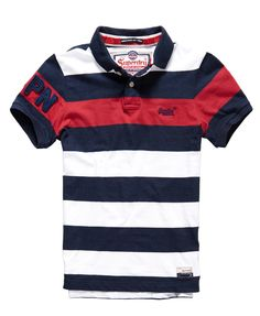 Mens - Hoopstripe Hit Polo in Rich Red Stripe | Superdry