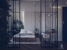 glass bedroom wall / industrial glass wall/ forest wallpaper / white wall White Bedroom, Bedroom Wall, Forest Wallpaper, Industrial Bedroom, White Walls, Divider, Anna, Glass, Furniture