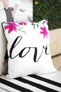 Custom Pillow Kristi Murphy for Shutterfly for the bridal shower floral theme. || Follow Kristi on Pinterest at http://www.pinterest.com/kristimurphydiy/ for more chic ideas.