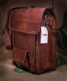 Leather Messenger Bag Sling Bag Mail Bag 12x16x5 Vintage Distressed Leather | eBay