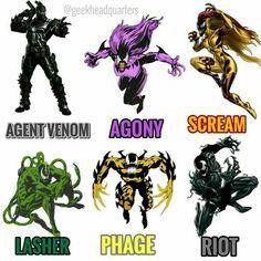 It's one big happy family Symbiotes Venom Comics, Marvel Venom, Marvel Villains, Hq Marvel, Marvel Comics Art, Marvel Memes, Comic Book Characters, Marvel Characters, Comic Books