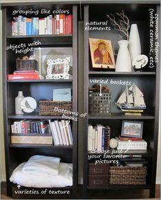 Stylish, albeit useful bookshelf styling ideas. Living Room Descriptions - DIY Bookcase Styling, Bookshelf, Bookshelves, Organizing