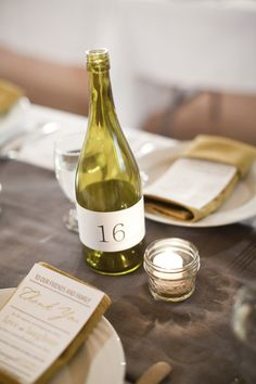 We could use empty bottles for water, then wrap the table number around it