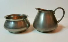 Vintage ROYAL HOLLAND PEWTER DAALDEROP CREAMER & SUGAR BOWL SET #RoyalHolland #Pewter
