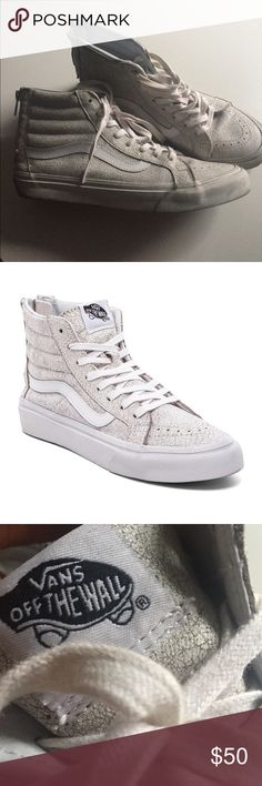 Off white cracked leather Vans high tops. Special edition cracked leather Vans high tops that were designed to sell at Madewell! Vans Shoes Sneakers