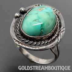 VINTAGE PUEBLO 925 SILVER HACHITA TURQUOISE TWISTED ROPE STAMP WORK ETHNIC RING