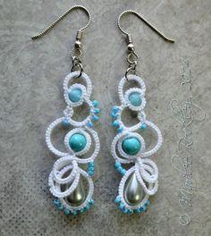 Tatted lace earrings white modern 3D asymmetrical by yarnplayer