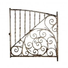 Antique arched wrought iron gate, dating from the early and originally used as a window guard. This iron piece features a divided design with twisted rods on the top left and a composition of scrolling rods on the bottom right. Window Grill, Stairs, Window Box, Furniture Decor, Iron Windows, Metal, Home Decor, Wrought Iron, Wrought Iron Gate