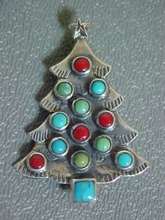 Wonderful-Sterling-Silver-Christmas-Tree-Pin-set-with-Turquoise-Coral-Signed