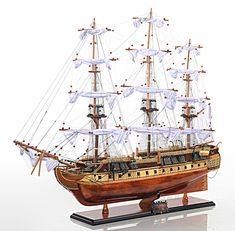 Museum Quality Copper Bottom USS Constitution Tall Ship Model With Free Shipping!