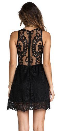 Gorgeous black floral lace mini dress