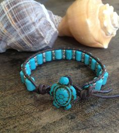 Surfing Turtle Turquoise Silver Leather Wrap Bracelet, via Etsy. Bohemian Bracelets, Bohemian Jewelry, Beaded Bracelets, Bangles, Turquoise Jewelry, Turquoise Bracelet, Turtle Jewelry, Seashell Jewelry, Bracelet Tutorial