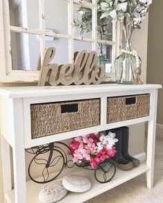 Entryway Spring decor | Kirkland's entryway table and decor, Hobby Lobby decor, farmhouse decor