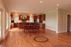 Custom Kitchen into open livingroom with Benjamin Moore Silver Satin paint