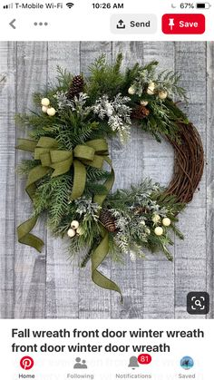 Excited to share the latest addition to my shop: fall wreath front door winter wreath front door winter door wreath winter evergreen front door wreath greenery winter wreath pine wreath wreathsforfrontdoor Diy Wreath, Door Wreaths, Wreath Ideas, Grapevine Wreath, Wreath Making, Christmas Crafts, Christmas Decorations, Holiday Decor, Christmas Arrangements