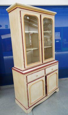 Doppio corpo laccato - credenza vetrina primo '900 laccata bicolore