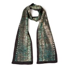 Limited edition, Hand printed silk scarf, ON SALE, Black, Gold and Mint, Oblong Summer scarf, Skinny scarf, Designer scarf by Dikla Levsky