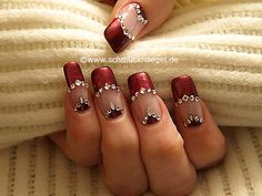 Find images and videos about nail art, red nails and uñas rojas on We Heart It - the app to get lost in what you love. Best Nail Art Designs, Toe Nail Designs, Acrylic Nail Designs, Rhinestone Nails, Bling Nails, Red Nails, Stone Nail Art, Nail Art With Stones, Nailart