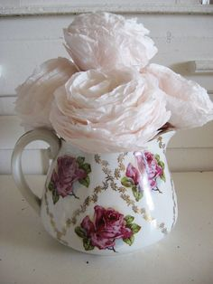 Vintage Cottage Rose Pitcher