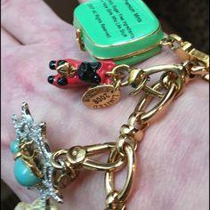 Juicy Couture charm bracelet bath leopard spider Devil dog toggle bracelet green mint box lovely Juicy Couture Jewelry Bracelets