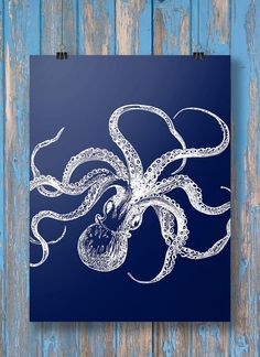 Nautical octopus tentacles blueprint wall art  by SouthPacific (Art & Collectibles, Prints, Digital Prints, printable, vintage, print, octopus, nautical, vintage nautical, ocean, sea, octopus art, vintage octopus, nautical art, nautical print, coastal art) Nautical Wall Art, Vintage Nautical, Nautical Theme, Nautical Prints, Nautical Logo, Nautical Colors, Nautical Wedding, Nautical Bedroom, Nautical Design