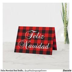 Feliz Navidad Red Buffalo Plaid Family Photo Holiday Card