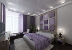 purple white gray (taupe?) bedroom love the spot lighting giving recessed ceiling effect