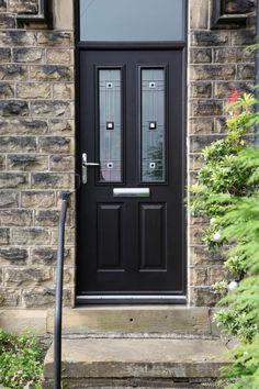 Ludlow 2 composite door and integral top light in black with CFT glass. Front Door Entrance, Glass Front Door, Front Doors, Glass Door, Black Composite Front Door, Composite Door, Tall Cabinet Storage, Locker Storage, Living Spaces