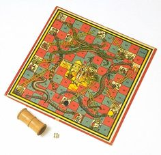 'Snakes and Ladders', board game, England, 1920s. Victoria & Albert Museum no. MISC.5-1980
