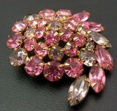Weiss pink purple rhinestone marquis brooch pin