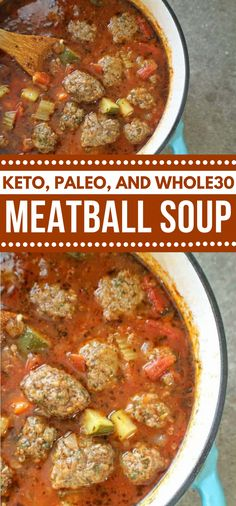 KETO MEATBALL SOUP & PALEO} This Keto Meatball Soup is anything but difficult to get ready, healthy, and stacked with crisp veggies and flavor. The best part is that the meatba… Whole 30 Soup, Paleo Whole 30, Whole 30 Recipes, Whole 30 Crockpot Recipes, Whole 30 Meatballs, Keto Meatballs, Healthy Meatballs, Clean Eating Soup, Paleo Soup