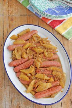 Salchichas frescas con manzana, mostaza y miel. Receta paso a paso
