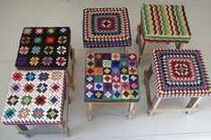 Really want to do this to a couple of not so pretty chairs in the house. Yarn-bombed crocheted stools