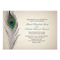 Peacock Wedding Invitations Vintage Peacock Wedding Invitation