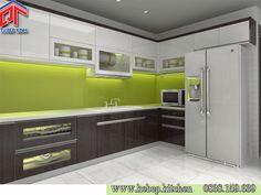 Mẫu tủ bếp màu nâu cá tính SLS12